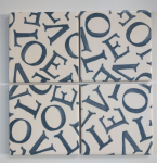 4 Ceramic Coasters in Emma Bridgewater Love Grey